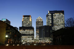Canary Wharf Skyline at Night Stock Image