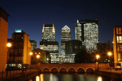 Canary Wharf Skyline at Night Royalty Free Stock Images