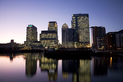 Canary Wharf Skyline at Night Stock Photos