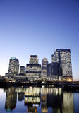 Canary Wharf Skyline at Night Royalty Free Stock Photos