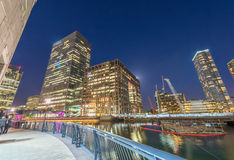 Canary Wharf skyline from street level at night, London UK Royalty Free Stock Images