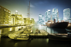 Canary Wharf Skyline at Twilight Stock Photos
