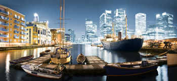 Canary Wharf Skyline at Twilight Royalty Free Stock Photos