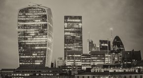 Canary Wharf skyline at twilight, London - UK.  Royalty Free Stock Image