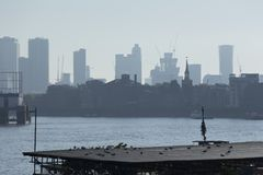 Canary Wharf skyline Stock Images