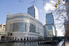 Canary Wharf skyscrapers in London Stock Photos