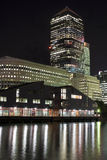 Canary Wharf skyscrapers in London at night Royalty Free Stock Images