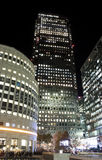 Canary Wharf skyscrapers in London at night Stock Photography