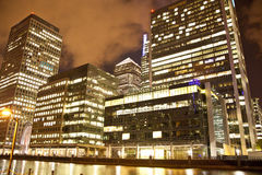 Canary Wharf square view in night lights Stock Image