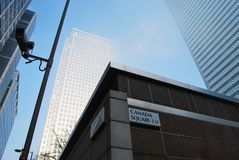Canary Wharf Tower and Canada Square Sign Royalty Free Stock Photo