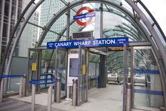 Canary Wharf tube station, entrance. London Stock Photo