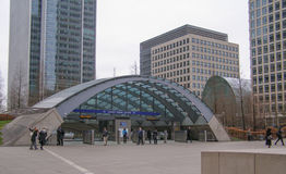 Canary Wharf tube station Stock Photo