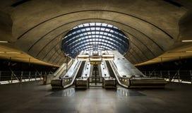 The Canary Wharf tube station , London. LONDON - september 21: View inside the Canary Wharf tube station,September 21, 2013. It  is a station on the Jubilee Line Stock Image