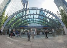 Canary Wharf tube station in London Stock Photos