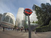 Canary Wharf tube station in London Stock Photo