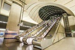 The Canary Wharf tube station , London. View inside the Canary Wharf tube station Royalty Free Stock Photos