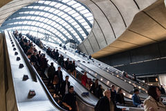 Canary Wharf tube station during the rush hour Royalty Free Stock Image