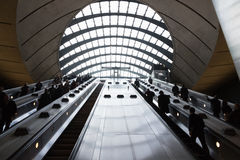 Canary Wharf tube station during the rush hour Stock Photography