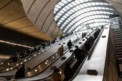Canary Wharf tube station during the rush hour Stock Photos