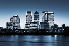 Canary Wharf at twilight. Canary Wharf at dusk, Famous skyscrapers of London's financial district at twilight. This view includes: Credit Suisse, Morgan Stanley Royalty Free Stock Photography