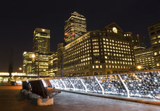 Canary Wharf at Twilight. Canary Wharf area of London at sunset stock image
