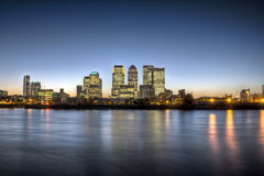 Canary Wharf twilight HDR Stock Photography