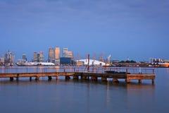 Canary Wharf und Nord-Greenwich Stockfotografie