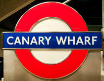 Canary Wharf Underground Sign, London Stock Images