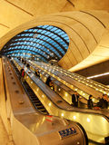 Canary Wharf underjordisk station, London Arkivbild