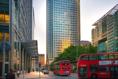 Canary Wharf, upper bank street view in the night with cars and taxis, London Royalty Free Stock Image