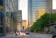 Canary Wharf, upper bank street view in the night with cars and taxis, London Stock Photos