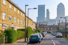 Canary Wharf van Oost-Londen wordt gezien dat Stock Foto