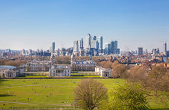 Canary Wharf view from the Greenwich hill. Royalty Free Stock Photography