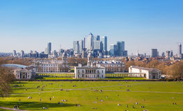 Canary Wharf view from the Greenwich hill. Stock Images