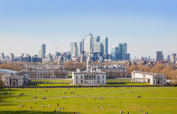 Canary Wharf view from the Greenwich hill. Stock Image