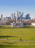 Canary Wharf view from the Greenwich hill. Royalty Free Stock Image