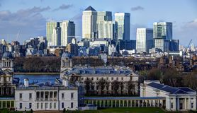 Canary wharf view. From greenwich park Royalty Free Stock Image
