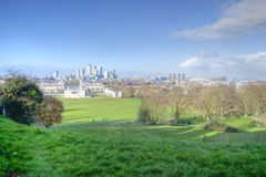 Canary wharf view. From greenwich park Stock Photography