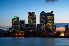 Canary Wharf von Nord-Greenwich Stockfotos