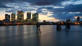 Canary Wharf von Nord-Greenwich Lizenzfreie Stockbilder