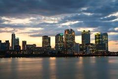 Canary Wharf von Nord-Greenwich Lizenzfreies Stockbild