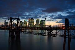 Canary Wharf von Nord-Greenwich Stockfotografie