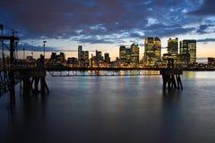 Canary Wharf von Nord-Greenwich Stockfoto