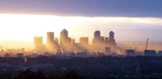 Canary Wharf wschód słońca fotografia royalty free