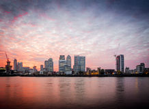 Canary Wharf-zonsondergang, Londen Royalty-vrije Stock Fotografie