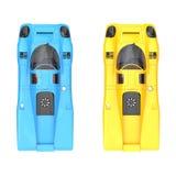 Canary yellow и небесно-голубые винтажные гоночные машины - покройте вниз с взгляда Стоковое Изображение