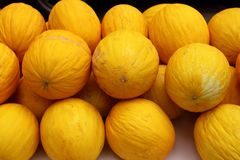 Canary Yellow Melon Indorus melo market stacked Royalty Free Stock Image