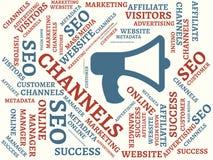 CANAUX - image avec des mots liés au MARKETING EN LIGNE de sujet, mot, image, illustration illustration stock