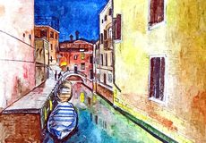 canaux Italie Venise Gondole à Venise Aquarelle sur le papier Art naïf Art abstrait Gouache de peinture, crayon de couleur sur le illustration libre de droits