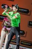 Canazei, Italië 24 Mei, 2017: Pierre Rolland Cannondale-Drapac Pro Cycling Team, op het podium stock foto's